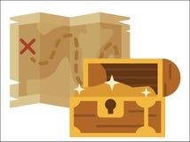 Skarb mapy pirata wektoru mieszkanie Zdjęcia Royalty Free