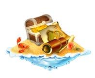 Skarb wyspa, wektorowa ilustracja Zdjęcie Royalty Free