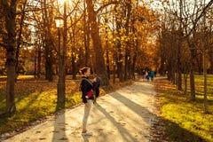 skarbie, przewoźnik Rodzina w jesień parku Zdjęcia Royalty Free