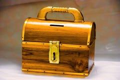 Skarbu drewna pudełko Zdjęcia Royalty Free
