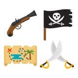 Skarbu pirata przygody bawją się akcesoria ikon wektoru set Obrazy Stock
