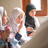 SKARDU, PAKISTAN - APRIL 18: An unidentified Children in a village in the south of Skardu are learning in the classroom. SKARDU, PAKISTAN - APRIL 18: An stock images