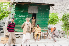 SKARDU, PAKISTAN - APRIL 18: An unidentified two man in a village in the south of Skardu, April 18, 2015 in Skardu, Pakistan. With a population of more than 150 Royalty Free Stock Image