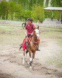 SKARDU, PAKISTAN - APRIL 18: An unidentified two man in a village in the south of Skardu, polo match on April 18, 2015 in Skardu, Stock Images