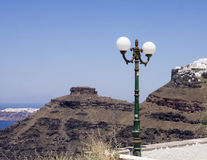 Skaros岩石和村庄Imerovigli,圣托里尼 库存照片