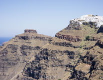 Skaros岩石和村庄Imerovigli,圣托里尼 免版税库存图片