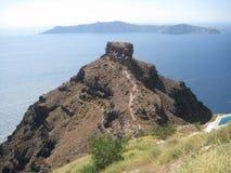 Skaros岩石在圣托里尼 免版税库存照片