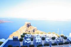 Skaros rock in Santorini against blue sea as a Stock Images