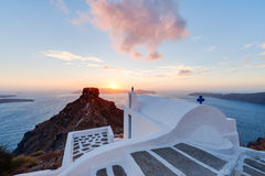 Skaros Rock Santorini at Sunset Royalty Free Stock Photo