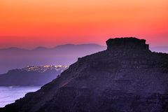 Skaros at sunset in Santorini, Greece Royalty Free Stock Photography