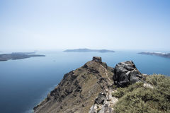 Skarosrots in Imerovigli, Santorini, Cycladen, Griekenland Stock Fotografie