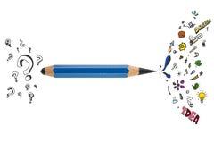 Skarp blyertspenna med idérik design Royaltyfria Foton