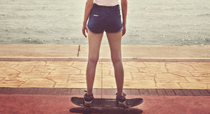 Skate Beach Casual Tranquil Solitude Vacation Royalty Free Stock Photography