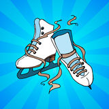 Skate blue background Royalty Free Stock Photo