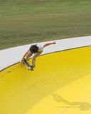 Skate Board 1. Local teen practicing skate boarding at skate boarding park Stock Photo