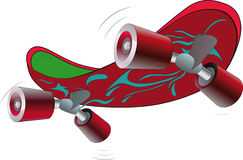 Skate board. It is red green skate board  for playing sports Royalty Free Stock Images