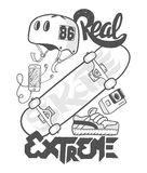 Skate board extreme, t-shirt graphics, vectors Stock Photography