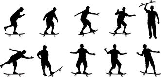 Skate board silhouettes Royalty Free Stock Photos