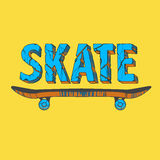 Skate board typography t-shirt graphics Royalty Free Stock Photos