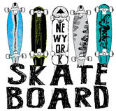 Skate board typography, t-shirt graphics, vectors. Design style Royalty Free Stock Photography
