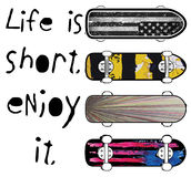 Skate board typography; t-shirt graphics; vectors Stock Images