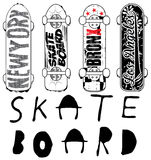 Skate board typography; t-shirt graphics; vectors Stock Image
