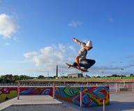 Skate Boarder Tuck-Knee. Amateur Skate boarder, Cian Eades for Jart skate boards was filming in Mount Kenneth Skate Park Limerick last September, along with Stock Image
