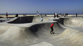 Skate boarders at Venice Beach stock footage