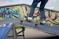 Skate boarding. Active young adult skate boarding Royalty Free Stock Image
