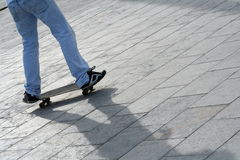Skate Boy. And his shadow Royalty Free Stock Image