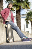 Skate boy city Royalty Free Stock Images