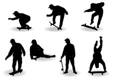 Skate boy silhouettes Royalty Free Stock Photos