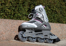 Skate with brake. On a road in park Royalty Free Stock Photo
