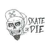 Skate or die lettering tattoo design. Skater scull Royalty Free Stock Photo