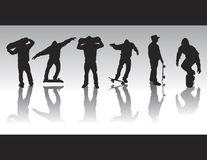 Skate Figure Silhouettes. Skater silhouettes in various poses and performing various tricks Royalty Free Stock Image