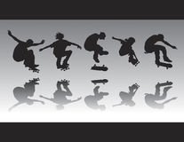 Skate Figure Silhouettes II. Skater silhouettes in various poses and performing various tricks Royalty Free Stock Images