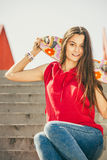 Skate girl on stairs with skateboard. Royalty Free Stock Photo