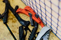 Skate guards. At the hockey match royalty free stock photo