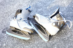 Skate ice skates outdoors winter Royalty Free Stock Images
