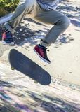 Skate kickflip in the skatepark royalty free stock image