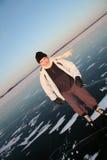 Skate on lake. Men skating on frozen surface of lake Stock Image