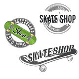 Skate logos. Set of skateboarding labels, icons, logotypes, signs. Skate shop badges with high detailed cartoon skateboard and skate wheel. Skate themed design Stock Photography