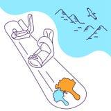 Skate na neve em um fundo das montanhas, ilustração do vetor ilustração do vetor