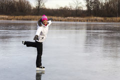 The skate outdoors young girl. Royalty Free Stock Images