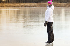 The skate outdoors young girl. Royalty Free Stock Image
