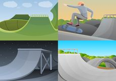 Skate park banner set, cartoon style vector illustration