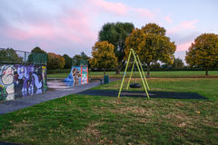 Skate park and empty swing in the autumn Stock Photography