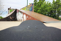 Skate park from feet Stock Images