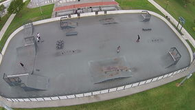 Skate park in Florida aerial view stock video