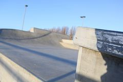 Skate park generic concrete ramps focus on ramp edge Stock Images